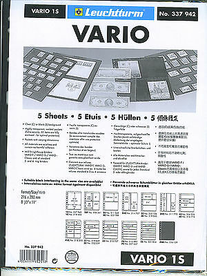 New Vario Stock Sheets 1S Two-Sided Single Pocket Black Pkg. 5