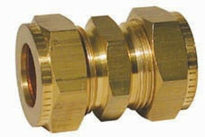 "Wade Brass Compression Fitting 3/8"" x 5/16"" Straight Coupling. Copper Olives."