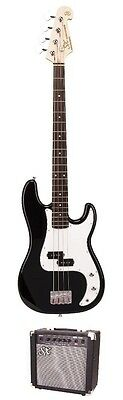 SX PB Style Bass Guitar & Amp Pack Red, Black or Sunburst Solid Body *NEW* Essex