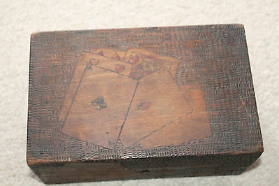 ANTIQUE WOODEN ENGRAVED POKER CHIP BOX Caddy  Holder WOOD BOX
