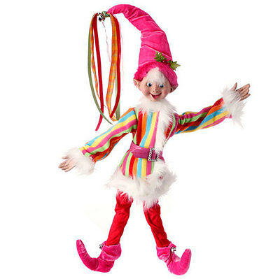 """RAZ Imports 24"""" Posable Elf Pink Striped Fur Candy Sprinkles Decor Christmas NEW"""