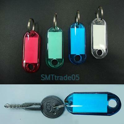 100pcs Plastic Key Tags Assorted Key Ring Travel Luggage ID Tags Name Card Label