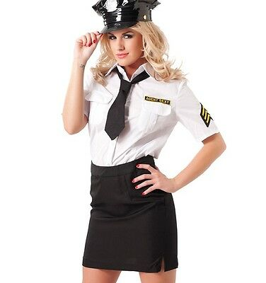 Skirt And Blouse Police Uniform With Hat - Fantasy Fancy Dress Outfit Costume
