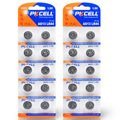 20PC PKCELL 1.5V AG13 LR44 L1154 RW82 RW42  A76 357A Button Coin Cell Batteries