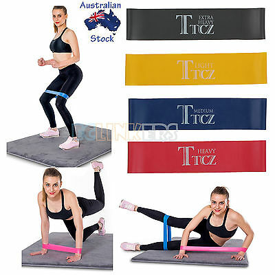4 X Resistance Band Loop Yoga Pilates Home Gym Fitness Exercise Workout Training
