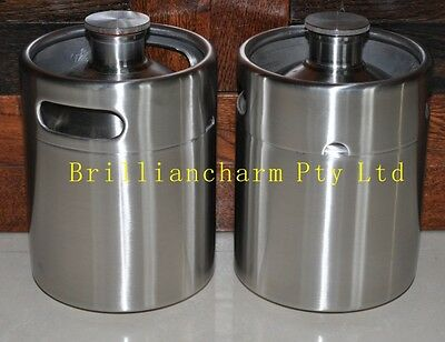 6 Pcs of 2L 304 Stainless Steel l Mini Keg Growler for Beer and wine-home brew