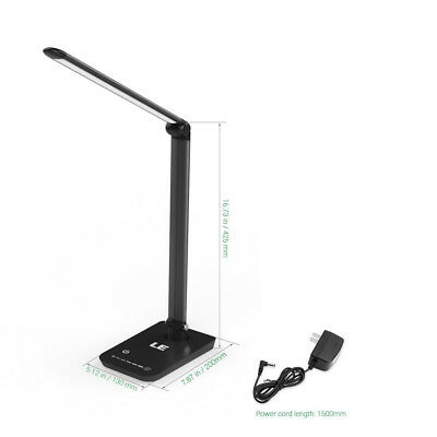 LE 8W Touch Sensor 54 LED Light Desk Table  Dimmable Reading Book Lamp w/ Power