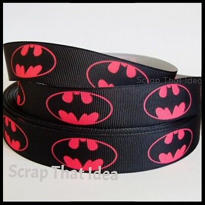 "Batman RIBBON. 7/8"" Grosgrain.  PINK.  Scrapbooking/Craft. Superhero. LARGE LOGO"