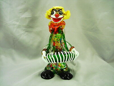 Murano Clown Accordion Player 9 3/4 In. Tall Great Colors - Italy, Band Ready!