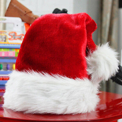 Santa Claus Caps Plush Red and White Santa's Hat for Christmas Party Costume