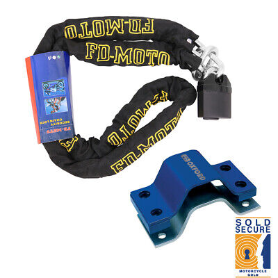 Scooter Bike Chain Lock 1.8M + Oxford AnchorForce Ground Anchor SOLD SECURE Gold
