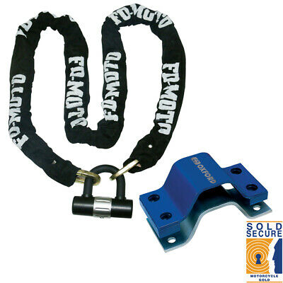 Motorcycle Bike Chain Lock 1.2M + Oxford Anchor Force Ground Anchor SOLD SECURE