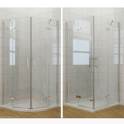 Quadrant Corner Entry Cubicle Shower Enclosure and Tray Frameless Hinge Door