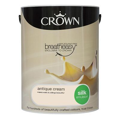 Crown Breatheasy Silk Emulsion Paint 5L Antique Cream