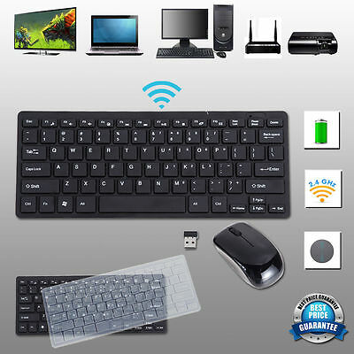 Mini 2.4G Wireless Keyboard and Optical Mouse Combo USB Receivcer Kit for PC