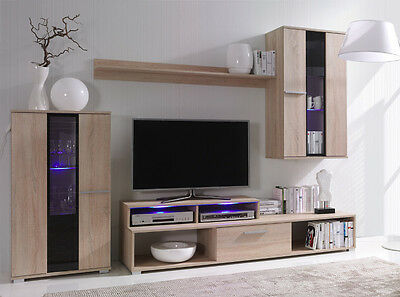 Wall Unit Stone4 Mounted Furniture Set   Living room   TV stand   Cupboard   LED