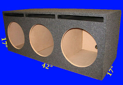 """3 Three Hole 12"""" Ported Vented Grey Chambered Subwoofer Sub Enclosure Box"""