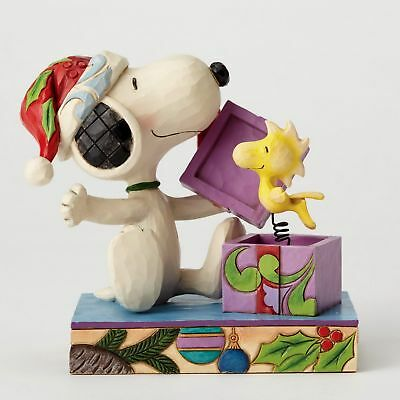 "THE PEANUTS Skulptur Snoopy & Woodstock Jim Shore 4053696 ""A CRISTMAS SURPRISE"""