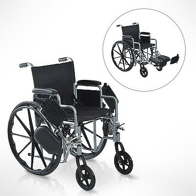 HOMCOM Self Transport Folding Wheelchair Padded Arm w/ Elevating Largest Pads