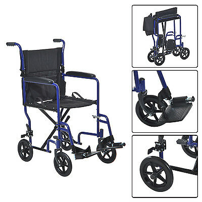 HOMCOM Folding Transport Chair Wheelchair Padded Arm w/ Swing Away Footrest