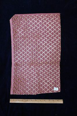 Dusty Rose Pink French Victorian Voided Velvet Fabric, Ribbon Motif c1880~Dolls