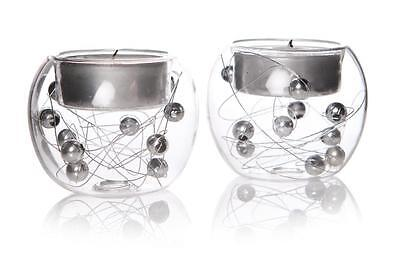 S/2 Vintage Silver Baubles Tealight Candle Holders Christmas Decoration Globes