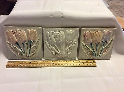 Vintage Ceramic Group Of Three  Renaissance Flower Pattern Decorative Tile