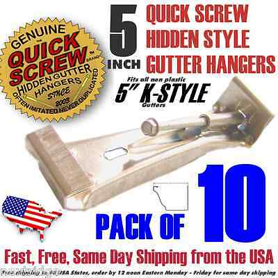 "10 5"" inch K Gutter Hidden Hangers includes Pre installed Screw Clip Style New"