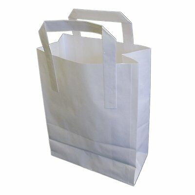 """500 SMALL WHITE KRAFT PAPER CARRIER BAGS SOS 7x3.5x8.5"""" TAKEAWAY FOOD PARTIES"""