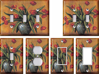 Red Tulips - Light Switch Covers Home Decor Outlet