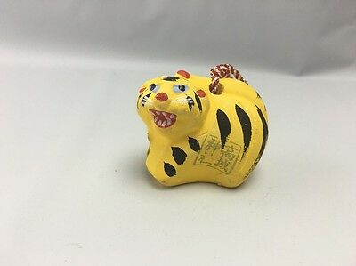 Tiger Bell - Ceramic Pottery - Asian ~2 1/2 by 1 3/4 Inches ~ Yellow/Black/Red