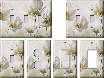 White Flowers - Light Switch Covers Home Decor Outlet