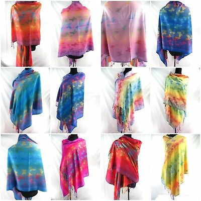 US SELLER-lot of 12 Wholesale rainbow butterfly pashmina scarves viscose