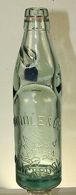 Antique Hindle & Co. Blackpool Codd Bottle England with Cobalt Blue Marble