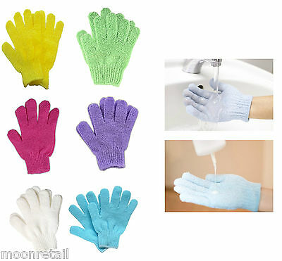 Exfoliating BATH GLOVES Shower Wash Massage Soap Skin Body Loofah Scrub Cleaning