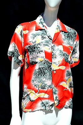 vintage 50's PENNEY'S HAWAIIAN shirt boys Sz 14 blouse japanese novelty print