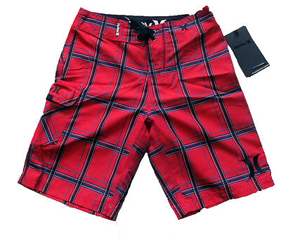 Hurley Board Shorts Boys RED Plaid Swim Suit Trunks Youth Style NWT 26  sz 10-12