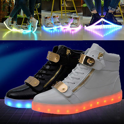 New High Top LED Light Lace Up Unisex Sportswear Sneaker Luminous Shoes Casual
