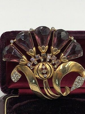 Antique, Original Art Deco Gorgeous Rare Brooch Amethyst Color Rhinestones!