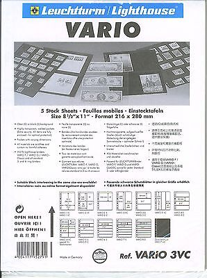 New Vario Stock Sheets 3VC  3 Vertical Pockets Clear Pkg. 5