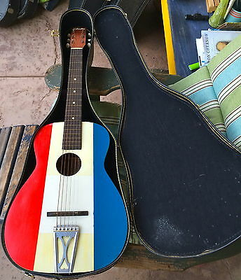 1970's Harmony Made Silvertone Buck Owens Style Painted Acoustic