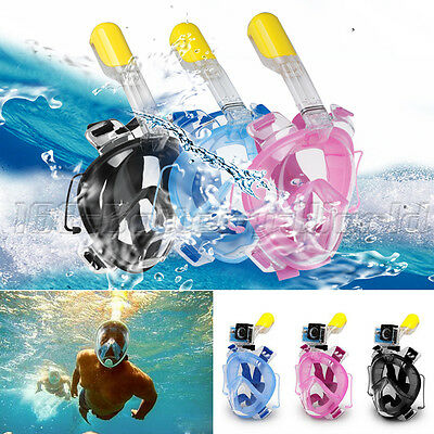 Full Face Snorkeling Snorkel Mask Diving Goggles With Breather Pipe For GoPro UK