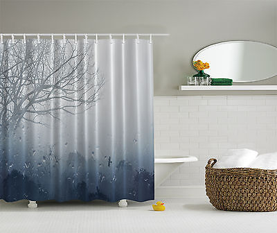 Rainy Scene Mystic Foggy Forest Abstract Artwork Tree Picture Shower Curtain