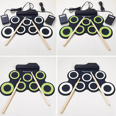 7 Pad USB MIDI Portable Silicone Roll Up Foldable Electronic Drum W/Stick