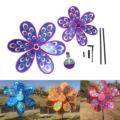 Double Layer Peacock Laser Sequins Windmill Colorful Wind Spinner Kids Toy