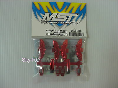 MST #210510R Enlarged brake calipers (anodized red) (4) 【Sky-RC】