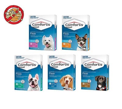 3 Chews Comfortis For Dogs Tasty Flea Tablets for Dogs & Cats All Sizes
