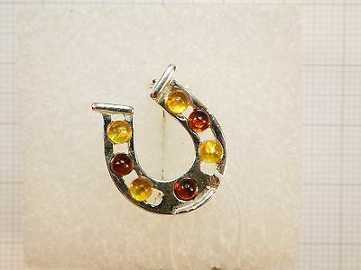 (.324) Brooch Horseshoe 925 Silver and Baltic Amber Russia
