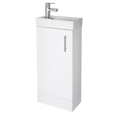 Compact 400mm White Floor Standing Vanity Unit & Basin Sink Bathroom Cloakro