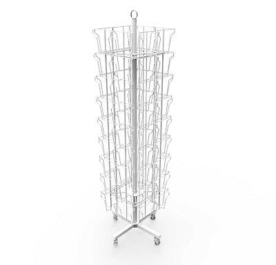 White Spinning Greeting Card Rack Holiday Birthday Card Display Card Holder Rack